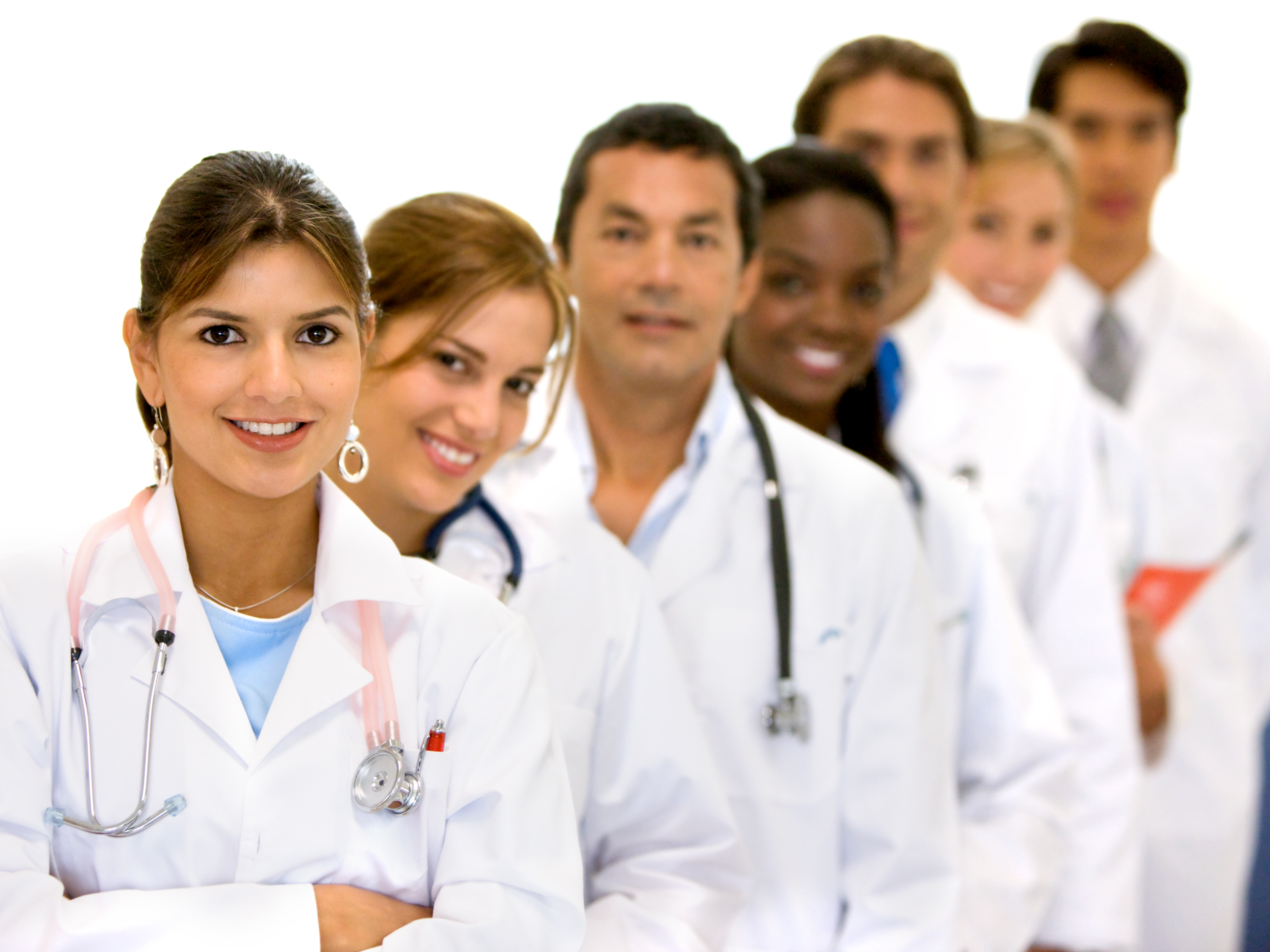 group of doctors in a hospital in a line
